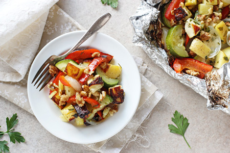 Grilled Halloumi and Summer Veggie Foil Packets