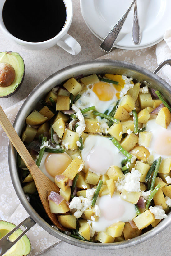 Recipe for potato, green bean and goat cheese breakfast skillet. Made all in one dish and on the table in 35 minutes or less!