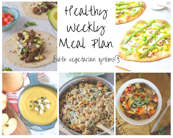 A healthy weekly meal plan with printable grocery list. Featuring veggie flatbreads, teriyaki bowls and butternut squash pasta!