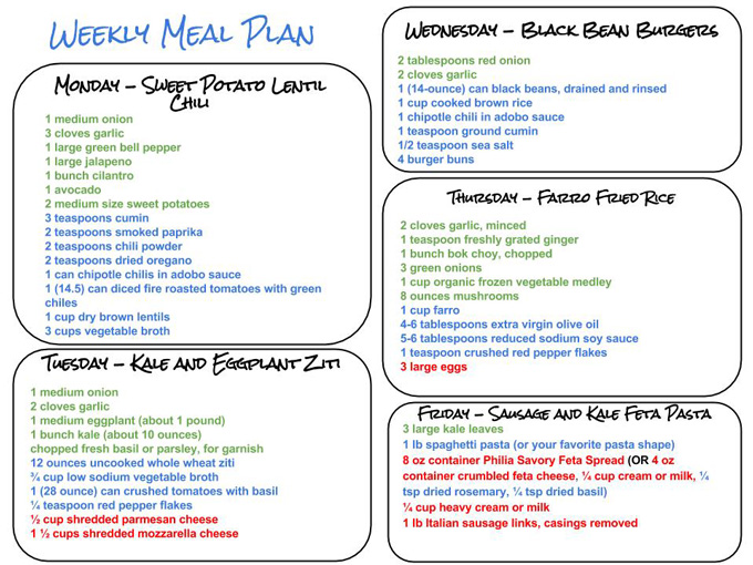 Healthy Weekly Meal Plan Grocery List – 10.31.15