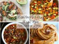 A healthy weekly meal plan with printable grocery list. Featuring minestrone soup, one-pot mexican quinoa, sweet potato pizza & butternut pasta!