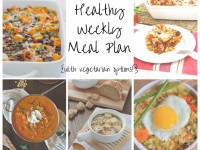 A healthy weekly meal plan with printable grocery list. Featuring two crockpot recipes, baked penne, an enchilada casserole and fried rice!