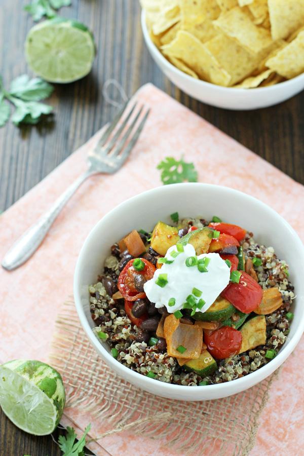 Quinoa Roasted Vegetable Burrito Bowls