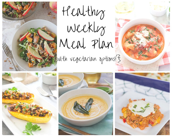 A healthy weekly meal plan with printable grocery list. Featuring a quinoa casserole, stuffed squash and tomato basil pasta!