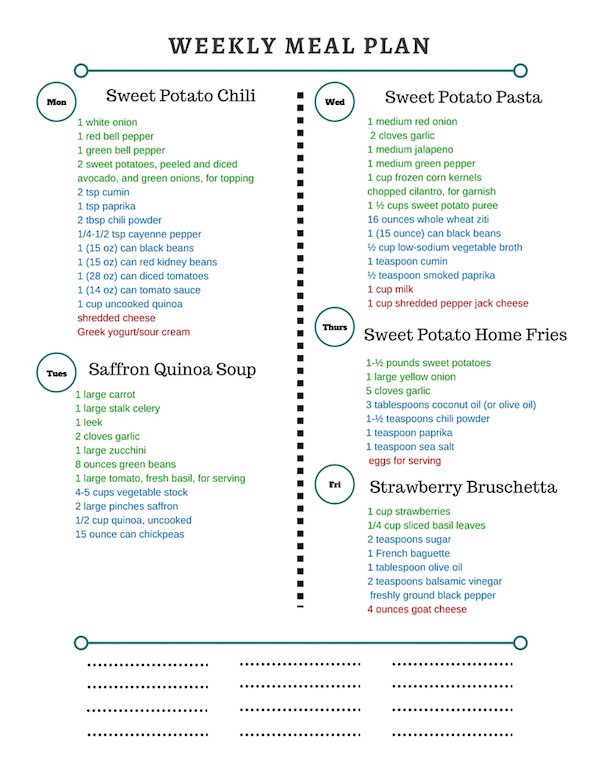 Healthy Weekly Meal Plan Grocery List – 12.26.15