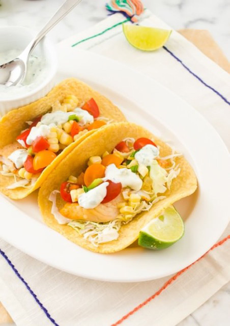 Healthy 30 Minute Fish Tacos with Cherry Tomato and Corn Salsa