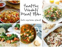A healthy weekly meal plan with printable grocery list. Featuring a chicken sausage veggie bake, tortellini minestrone and Italian kale salad!