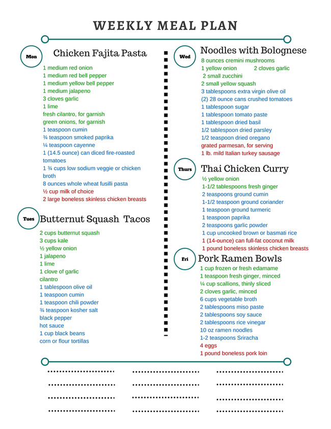 Healthy Weekly Meal Plan Grocery List – 1.23.16
