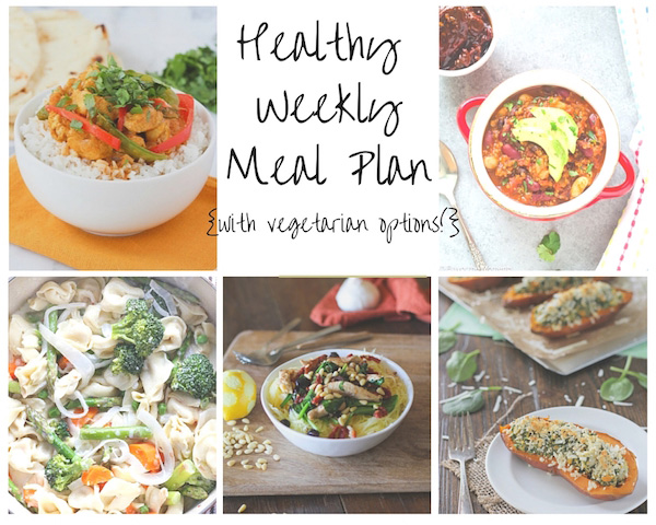 A healthy weekly meal plan with printable grocery list. Featuring spinach artichoke sweet potato skins, coconut chicken curry and tortellini primavera!