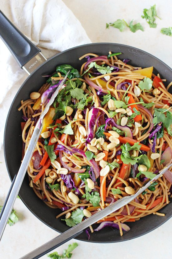 An easy and colorful recipe for rainbow vegetable lo mein! Ready in 35 minutes, packed with veggies and much healthier than take-out!