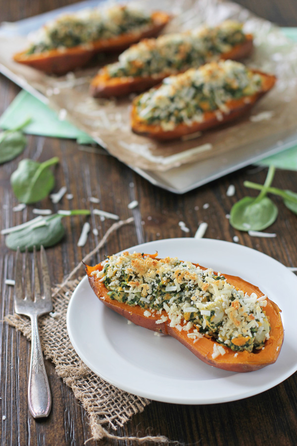 Spinach and Artichoke Sweet Potato Skins