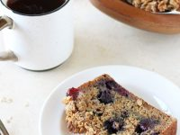 Lightly sweet and moist blueberry banana bread with oat crumble! Filled with whole wheat flour, maple syrup and plenty of blueberries!