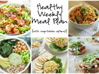 A healthy weekly meal plan with printable grocery list. Featuring green goddess quinoa bowls, spring veggie pad thai and strawberry salad!