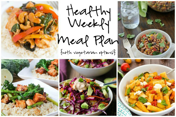 A healthy weekly meal plan with printable grocery list. Featuring mexican couscous salad, skillet caprese pasta and cashew chicken!
