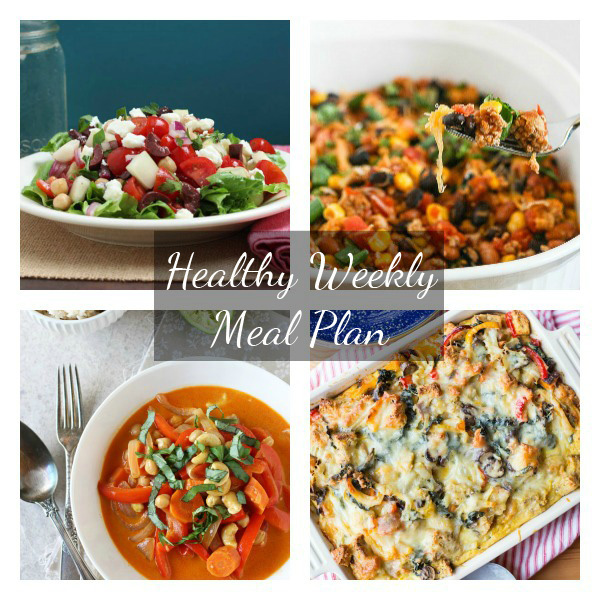 A healthy weekly meal plan with printable grocery list. Featuring mediterranean chopped salad, thai red curry and a roasted veggie strata!