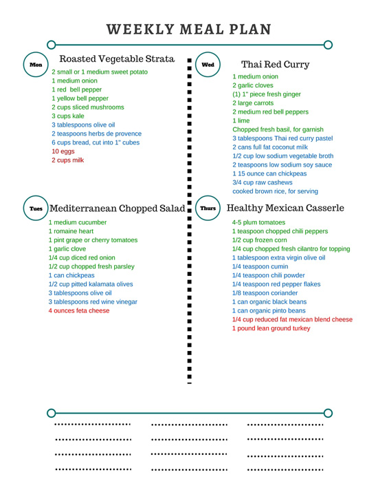 Healthy Weekly Meal Plan Grocery List – 4.23.16