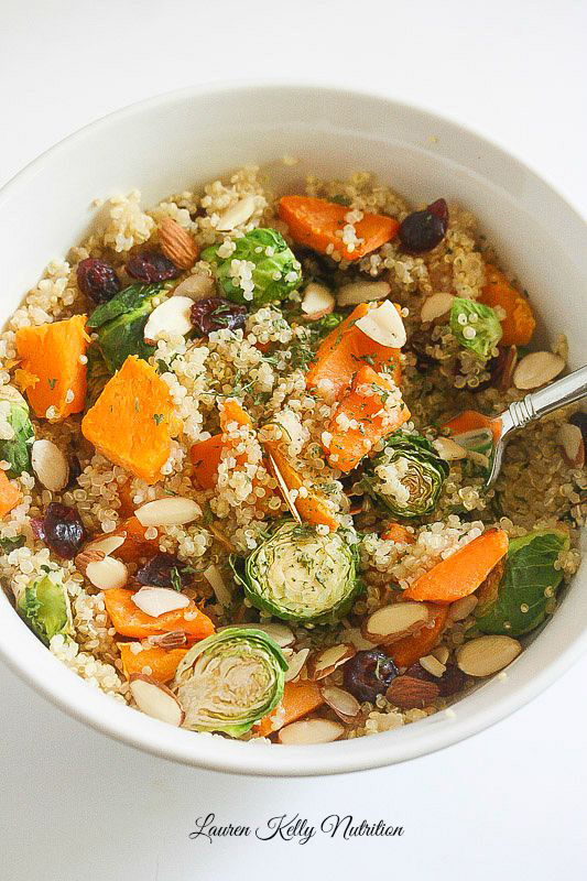 Sweet Potato Brussels Sprout Quinoa Bowl