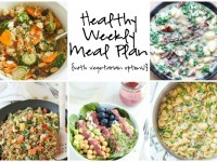 A healthy weekly meal plan with printable grocery list. Featuring skillet pasta primavera, pineapple cashew quinoa fried rice and a spring superfood bowl!