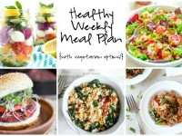 A healthy weekly meal plan with printable grocery list. Featuring cajun quinoa, strawberry panzanella salad and beet quinoa veggie burgers!