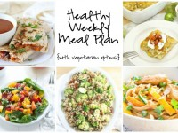 A healthy weekly meal plan with printable grocery list. Featuring thai peanut noodles, roasted veggie quesadillas and a chicken verde enchilada bake!