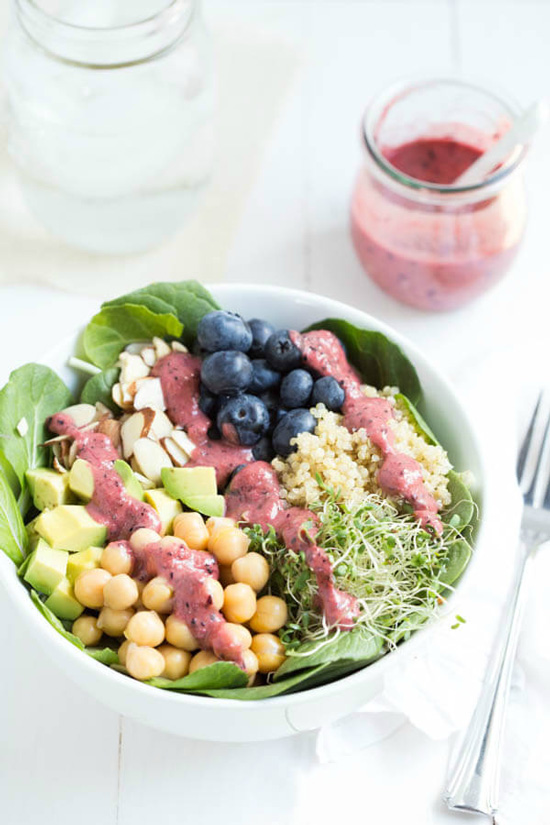 Spring Superfood Bowl with Blueberry Ginger Dressing