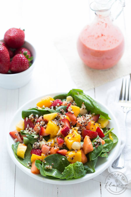 Strawberry Tropical Fruit Salad with Strawberry Ginger Dressing