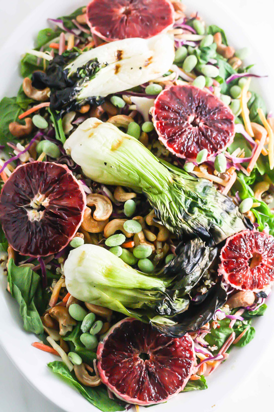 Grilled Baby Bok Choy Salad with Honey Miso Dressing
