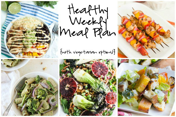 A healthy weekly meal plan with printable grocery list. Featuring a veggie-packed pesto pasta, honey chicken peach skewers and chipotle lime taco bowls!