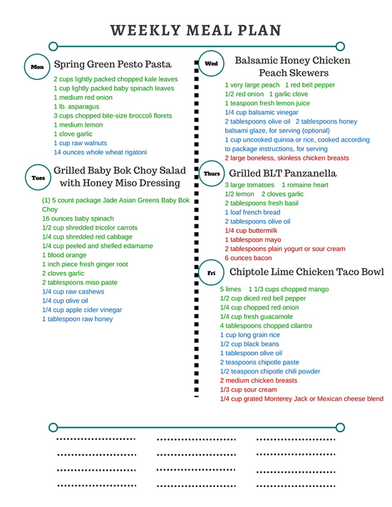Healthy Weekly Meal Plan Grocery List – 6.11.16