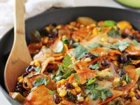 These easy & one-pot summer vegetable skillet enchiladas are a family favorite! Filled with summer produce and on the table in 30 minutes!