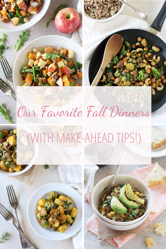 A collection of our all-time favorite fall dinners! With make-ahead tips for each recipe! From cozy soup to comforting pasta to autumn salad!