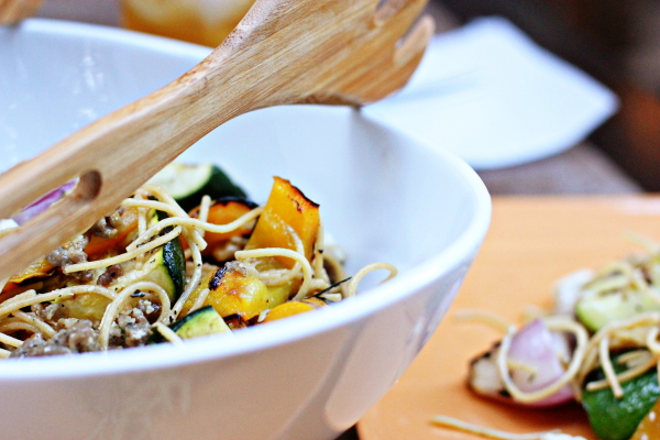 Pasta with Grilled Vegetables and Sausage