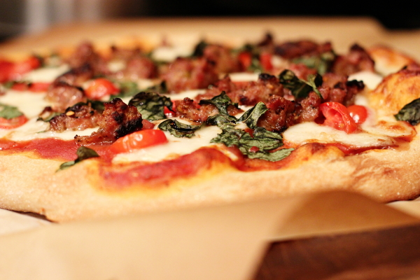 Sausage, Mozzarella and Basil Pizza