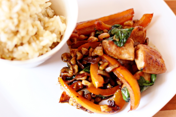 Stir-Fried Chicken with Basil and Walnuts