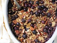 Wholesome and filling, this baked blueberry and apple oatmeal is a family favorite! Sweetened with maple syrup and packed with fresh fruit!