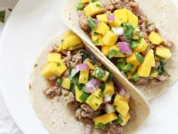 25 minute ground pork tacos with mango salsa! Easy, healthy and delicious! These simple tacos are on the table in a flash! Sweet, spicy and totally fresh!