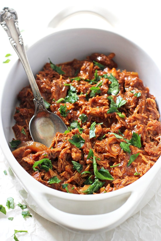 This super easy crockpot pulled BBQ chicken is a family favorite! Perfect for a crowd or for plenty of leftovers! Let your slow cooker do all the work for this healthy meal!