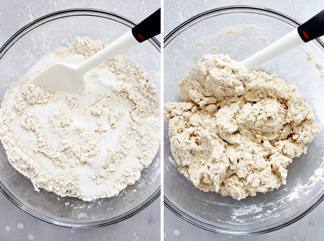 A glass mixing bowl filled with flour and coconut buttermilk, then the same bowl with them mixed together.