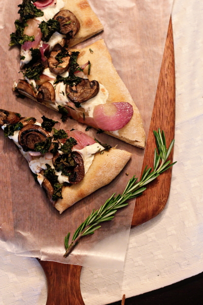 Kale, Mushroom and Red Onion Pizza