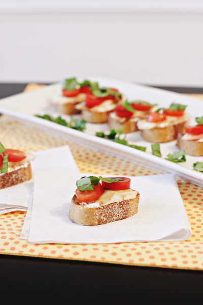 Nectarine, Tomato and Goat Cheese Crostini