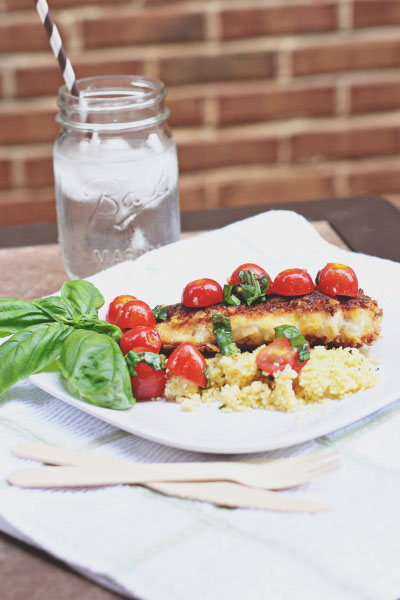 Parmesan Chicken with Cherry Tomato Salad
