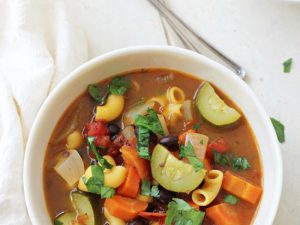 An easy, healthy and flavorful minestrone soup recipe! Filled with veggies, pasta and a touch of balsamic vinegar, this light vegetarian dish is a crowd pleaser for sure!
