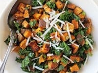 This roasted sweet potato salad is simple to make and packed with flavor! With toasted walnuts, kale, and a maple lime dressing!