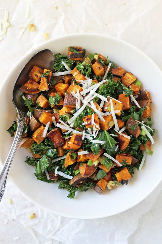 A white bowl filled with Roasted Sweet Potato Salad.