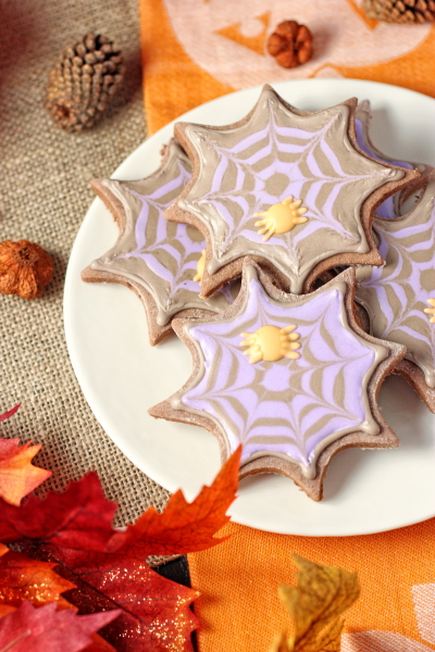 Chocolate Sugar Cookies (with Spider Web Royal Icing)