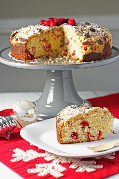 Cranberry Eggnog Coffee Cake
