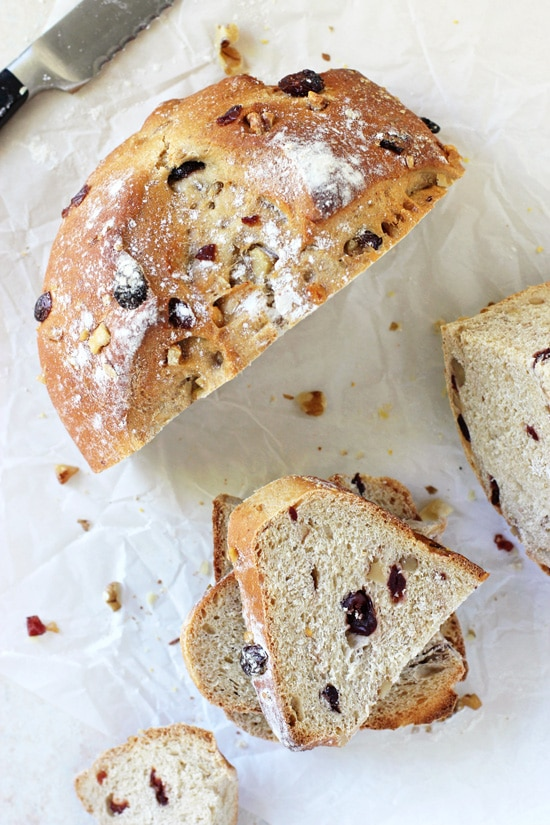 This homemade cranberry walnut bread is irresistible and makes for the best toast! Soft, chewy and filled with cranberries and walnuts! Perfect for the season!