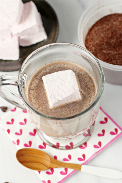 A Raspberry Marshmallow in a mug of hot chocolate.