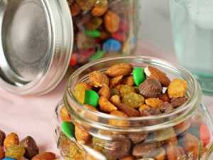 Homemade trail mix with chocolate and nuts