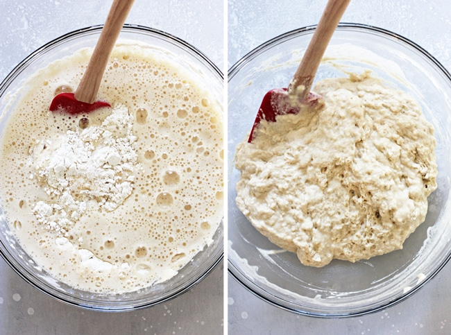 A glass bowl with beer bread batter partially and then fully mixed together.